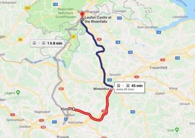 Kloten to Rhinefalls Via Winterthur